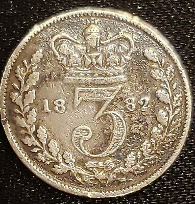 """1882 GREAT BRITAIN  SILVER """"3 PENCE"""" coin HIGH GRADE! Sterling 92.5%- XF+"""