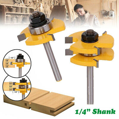 """T-type 3-tooth Mortise Bits Tongue and Groove Router Bit Cutter 1/4"""" Shank .UK"""