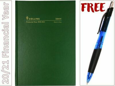 2020/21 A5 Financial Year Diary W.T.O. GREEN Hardcover Collins 38M4P40