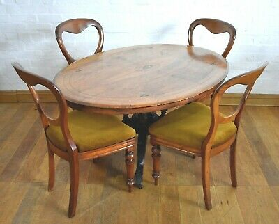 Antique Victorian inlaid oval breakfasting / dining table / centre table