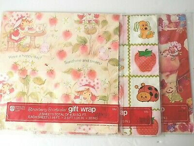 Vintage Strawberry Shortcake Gift Wrap 1980 Wrapping Paper NEW Sealed