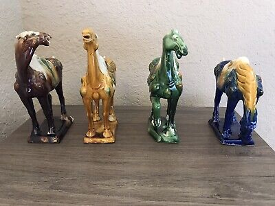 Set Of 4 Vintage War Horse Figures Tang Dynasty Style in Original Packaging