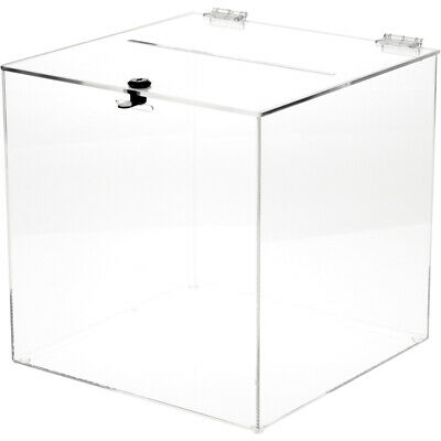 """Plymor Clear Acrylic Locking Ballot/Collection/Donation Box, 12""""W x 12""""D x 12""""H"""