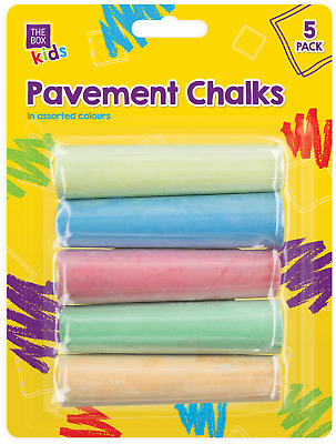 5 x Chunky Coloured Kids Pavement Chalks Children Art Craft Blackboard Colour