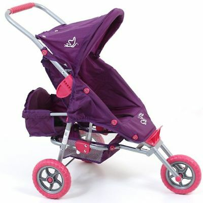 Valco Baby Mini Marathon Dolls with Toddler Seat -  Butterfly Purple