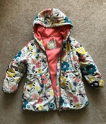 Girls M&S Age 3-4 Years Coat - Beautiful Bright Print Flowers, Rainbows