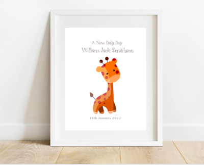 Personalised New Baby Boy Nursery Wall A4 Print Giraffe Christening Gift