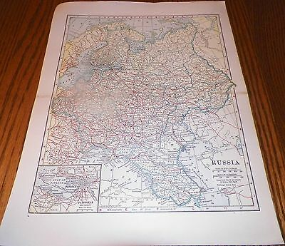 Gorgeous Color 1900's Map of Russia L.L. Poates Engr'g Co, N.Y.
