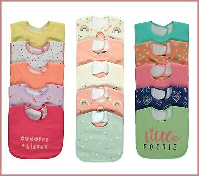 Baby Girls Flamingo Unicorn Dinosaur Slogan Bib Set 5 Pack Neck Fasten Bibs BNWT