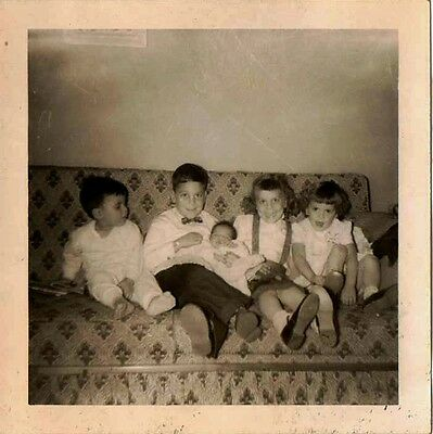 Old Vintage Antique Photograph Bunch of Little Children Sitting on Couch