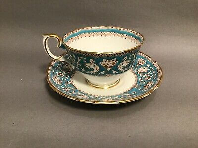 Vintage Crown Staffordshire Turquoise Fine Bone China Tea Cup & Saucer Ellesmere