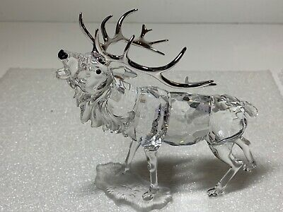 Swarovski Crystal Stag Elk with Rhodium Antlers Figurine