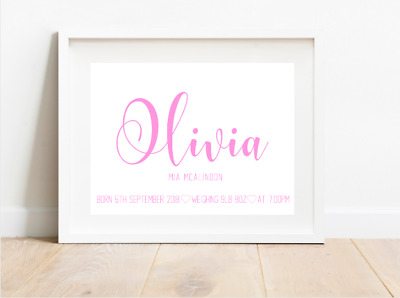 New Baby Newborn Personalised Baby A4 Print Christening Gift Nursery Wall Pink