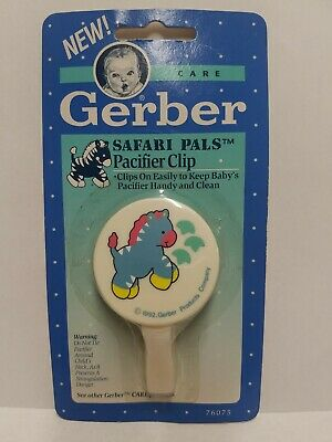 Vintage Gerber Pacifier Clip Safari Pals 1992 NEW Rare Collector's Item