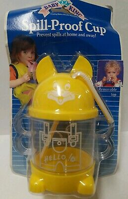 Vintage, New Baby King Spill-Proof Cup Yellow Removable Top, Dishwasher Safe