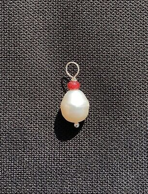 9mm Natural Pearl Pendant With Ruby - Sterling Silver