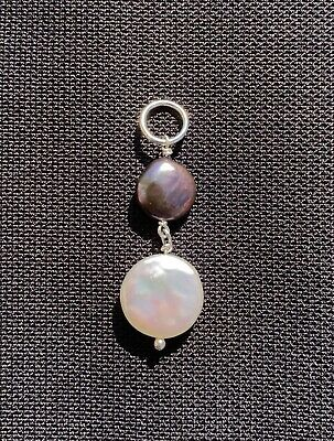 Beautiful White And Black Cultured Pearl Pendant - Sterling Silver