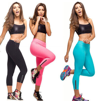 3 Quarter High Waisted Gym Tights Neon Colour Workout Pants With Zipper AU STOCK