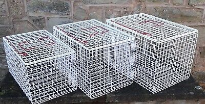 Inter-Stacking Pet  Carrier White Wire 3 Per Set Plastic Coated Hygienic Manufac