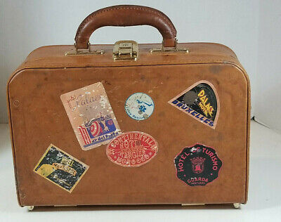 Vintage Small Leather Travel Suitcase Makeup Case with Hotel Water Decals