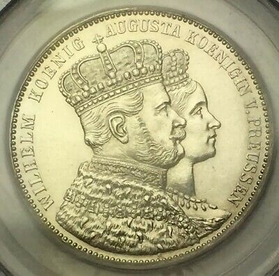 1861 A PRUSSIA CORONATION  / GERMANY 1 Thaler PCGS MS63