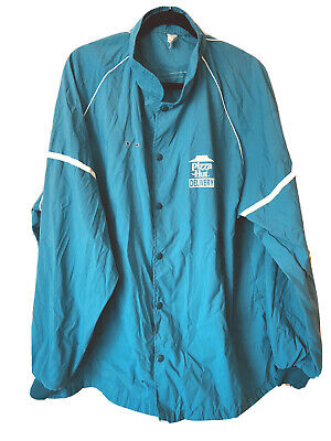 Vintage 90s PIZZA HUT Snap up Teal & White Windbreaker jacket- Delivery Driver