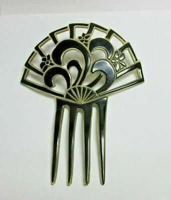 Vintage 1920's Art Deco Black & Clear Celluloid Fan Shape Hair Comb w/ Flowers