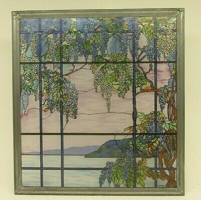 VTG MMA Tiffany Stained Glass Window Panel View of Oyster Bay Museum Modern Art