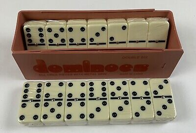 Dominoes Double 6 Jumbo Size Ivory Color Tiles With Spinners In Plastic Case
