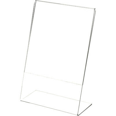 "Plymor Clear Acrylic Sign Display / Literature Holder (Angled), 6"" W x 9"" H"