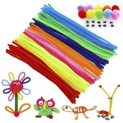 100 Pipe Chenille Sticks Cleaners Stems Assorted Plain&Fluffy Pompoms&Toy Eyes