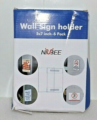 Niubee Acrylic Wall Sign Holder 3M Tape Adhesive 5x7 6 Pack Vertical