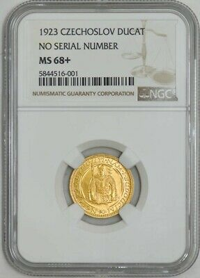 1923 Czechoslovakia Gold Ducat MS68+ NGC No Serial Number ~ Finest! 942943-1