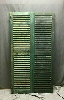 Pair Vtg House Window Wood Louvered Shutters 17x66 Shabby Old Chic Green 64-20M