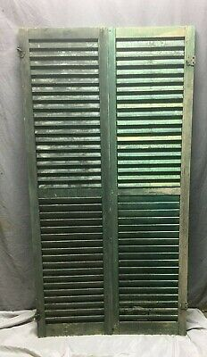 Pair Vtg House Window Wood Louvered Shutters 17x66 Shabby Old Chic Green 66-20M