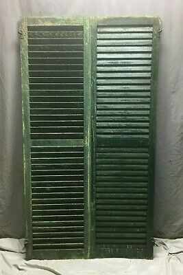 Pair Vtg House Window Wood Louvered Shutters 18x66 Shabby Old Chic Green 67-20M
