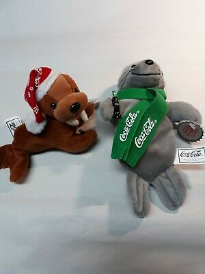 Coca Cola Plush Walrus, Seal Holding Coke Bottle Vintage 1998