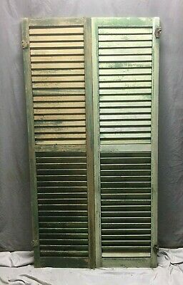 Pair Vtg House Window Wood Louvered Shutters 17x66 Shabby Old Chic Green 68-20M