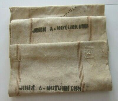 Antique Vintage Grain Sacks (3) - Primitive American New York Signed - Unique
