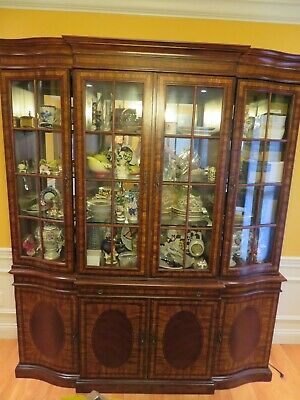 China Cabinet Chippendale Solid Cherry Lighted Glass Solid Doors Drawer Table
