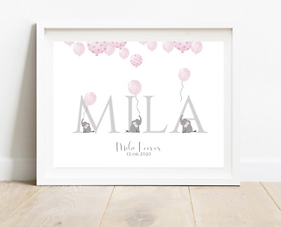 Personalised New Baby Girl Nursery Print A4 Grey Elephant Christening Birth Gift