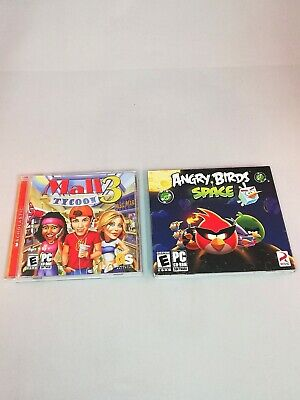 PC Video Game Lot 2 PC Games Mall Tycoon 3 Angry Birds Space