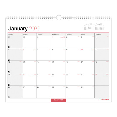 Office Depot Brand Monthly Wall Calendar, 15x12, White, 2020, OD30242820