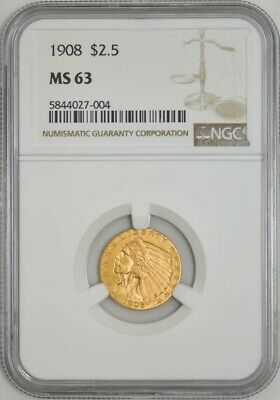 1908 $2 1/2 Gold Indian $2.5 MS63 NGC 942948-7