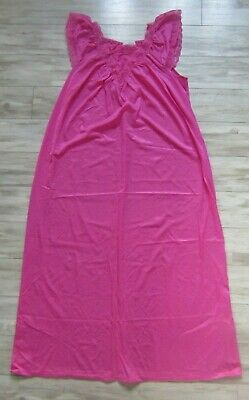 Vintage Spotlight Pink Nylon Lace Full Length Long Silky Nightgown Size M