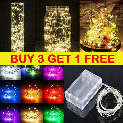 Fairy Lights Battery Operated Micro LED Copper/Silver Wire Warm/Cool White Lamp