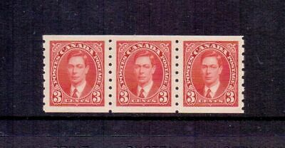 CANADA 1937 GVI 3d SCARLET COIL SG370 IN MNH STRIP OF 3 CAT £105