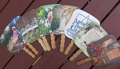 9 Vintage Cardboard Church Fans, 7 Religious