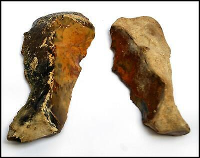 Early man paleolithic Achuelian 2 knives blade british rare ancient flint tools