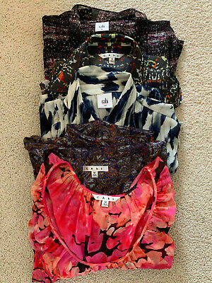 Lot of 5 Assorted CAbi Polyester Shirts Tops Blouses, Size Medium, Floral, Print